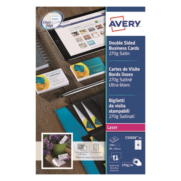 Avery C32011-25 Printable Single-Sided Business Cards 10 Cards Per A4 Sheet