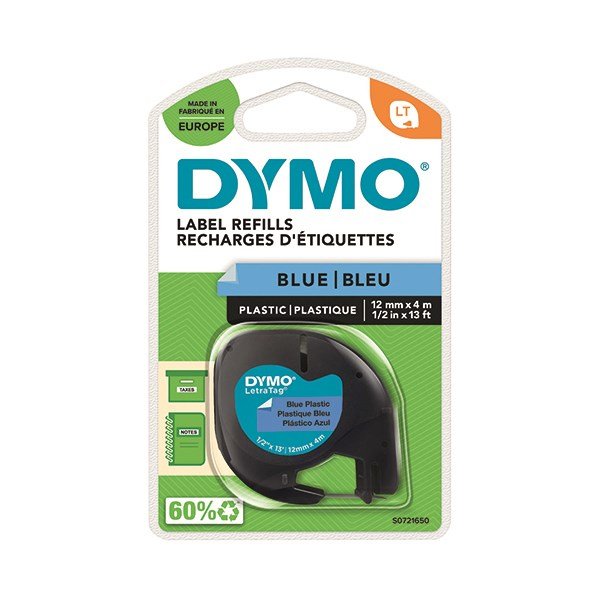 Dymo Letratag Plastic Tape 12mm X 4 Metres Ultra Blue