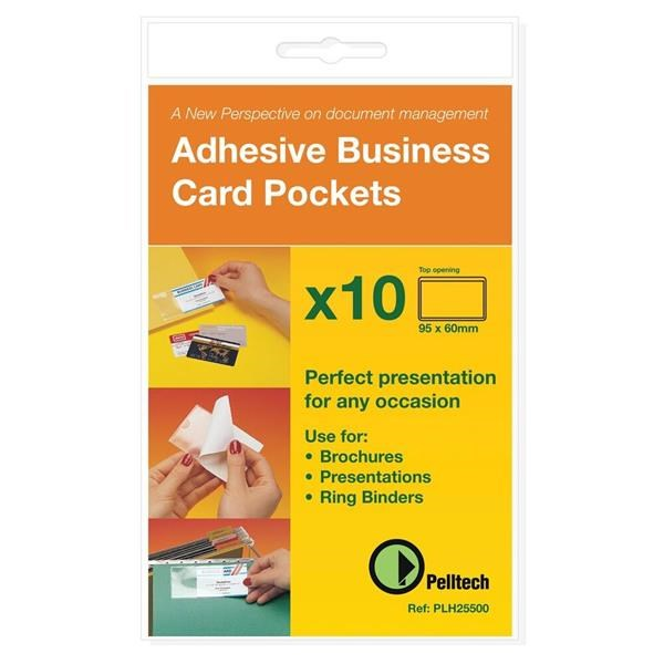 Pelltech self adhesive business card pocket 60 x 95mm pack 100 pelltech self adhesive business card pocket 60 x 95mm pack 100 plh10141 lx00514 reheart Images