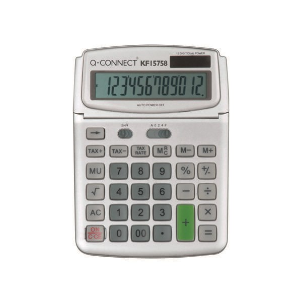 Q-Connect Large Table Top 12 Digit Calculator Grey - KF15758